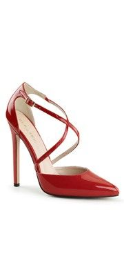 Red Patent Cross Strap Sexy d'Orsay Heels