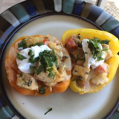"""""""Stuffed fajita peppers! The chicken was marinated in lime juice, cilantro, cumin, chili powder, garlic powder and s&p. Cooked it up and stuffed in half peppers that were boiled until soft.  Topped with cheese and then popped in the oven! Finished them off with some sour cream and cilantro! #paleo #paleominusthesourcream #primal #jerf #keepitpaleo #stuffedpeppers #lowcarb"""" Photo taken by @dirtypaleoh on Instagram, pinned via the InstaPin iOS App! http://www.instapinapp.com (06/08/2015)"""
