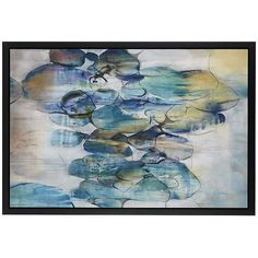 Crate & Barrel Turquoise Assemblage Print ($800) via Polyvore featuring home, home decor, wall art, turquoise home accessories, crate and barrel, american home decor, turquoise home decor y turquoise wall art
