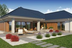 Zdjęcie projektu Domena 113 B WRW1284 Village House Design, Bungalow House Design, Village Houses, Modern House Design, 4 Bedroom House Plans, Ranch House Plans, Modular Home Floor Plans, House Floor Plans, Residential Building Plan