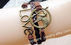 Mockingjay anklets brown leather strap hungry by Favoriteleather, $3.99