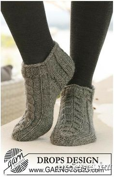 Socks & Slippers - Free knitting patterns and crochet patterns by DROPS Design Knitting Designs, Knitting Patterns Free, Free Knitting, Knitting Projects, Crochet Patterns, Knitted Socks Free Pattern, Knitted Slippers, Crochet Slippers, Knit Or Crochet