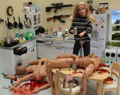 Artist Mariel Clayton poses Barbie in a wonderful series or photos resembling a Dexter meets Desperate Housewives crossover. She has several other Barbie shoots, including a NSFW(?) examination of Barbie and modern sexuality. You've come a long way, baby. Bad Barbie, Barbie And Ken, Girl Barbie, Barbie Tumblr, Nicki Minaj Barbie, Barbie World, Maroon 5, Serial Killers, Jouer