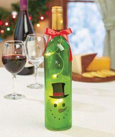 Lighted Holiday Wine Bottles