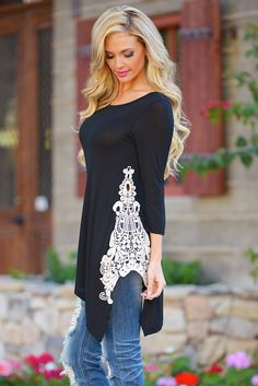 Side With Me Tunic - Black (S to 3XL) from Closet Candy Boutique