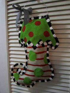 #burlap Christmas stocking door hanger