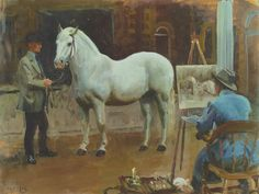 Alfred J Munnings - AJM - Artist Painting King Georges Pony Jack Painting Paintings I Love, Animal Paintings, Horse Paintings, Abstract Paintings, Oil Paintings, Horse Drawings, Animal Drawings, Artist Painting, Painting & Drawing