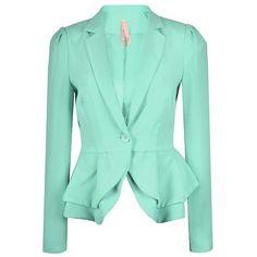 DOUBLE PEPLUM JACKET (48 AUD) ❤ liked on Polyvore featuring outerwear, jackets, blazer, coats, green jacket and peplum jacket