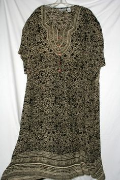 Plus Class by Just Class Plus Size Bohemian Style Brown Tan Dress 3X | eBay