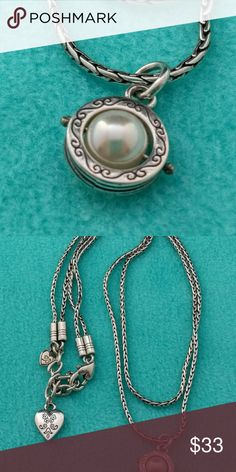 Brighton double strand w/simulated pearl necklace One more to add to your collection, very good used condition Brighton Jewelry Necklaces