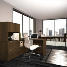 Bestar i3 L-Shaped Desk with Hutch and File Drawer - 150853-38