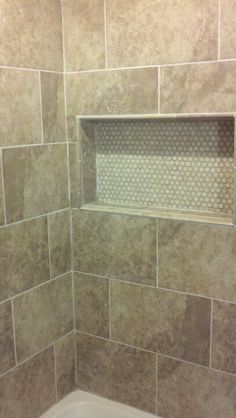 new bathroom - tiled shower w/ niche all tile from the Tile Shop, all handy work by my husband