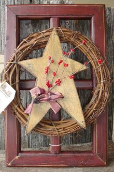 Primitive window wood star wreath