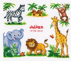 cross stitch birth sampler | cross stitch kit sampler zoo animals is a delightful counted cross ...