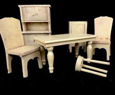 Vintage 1930S Strombecker Wooden Dollhouse Furniture Kitchen Cabinet 6 Pieces #Strombecker