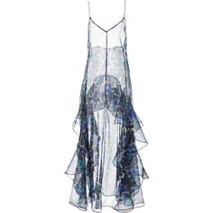 Jill Stuart Anahi Slip Dress ($695) ❤ liked on Polyvore featuring dresses, floral, flower design dresses, botanical dress, flower print dress, silk slip dress and tiered ruffle dress