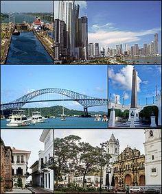 Panama CityDe arriba a abajo, de izquierda a derecha: Canal de Panamá, Panoramica cerca de la Avenida Balboa, Puente de las Américas, Obelisco y bustos del conjunto monumental Las Bóvedas en la la Plaza de Francia, Casco Antiguo de Panamá, y la Catedral Metropolitana de Panamá.
