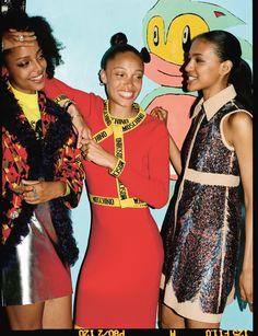 Alewya wears dress Louis Vuitton. Adwoa wears dress and cardigan Moschino. Ring and earcuff Repossi. Kesewa wears coat Prada. Jumper Ashley Williams. Skirt River Island. Photography Sean Thomas