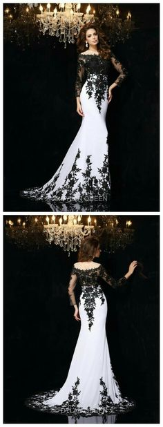 Super Wedding Dresses Colored White Ideas Wedding Gown black and white wedding gowns Peacock Wedding Dresses, Colored Wedding Dresses, Halloween Wedding Dresses, Black White Wedding Dress, White Lace, Black And White Prom Dresses, Black Wedding Gowns, White Dress, Trendy Dresses