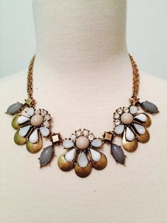 J Crew Inspired White Statement Necklace by BellaHarperBoutique