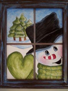 Christmas DIY: using an old window. Christmas Canvas, Christmas Paintings, Christmas Snowman, Winter Christmas, Christmas Time, Christmas Ornaments, Christmas Windows, Snowman Crafts, Christmas Projects