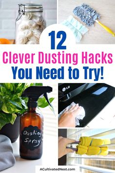 12 Clever Dusting Hacks- Get your house in the best shape ever with these 12 clever dusting hacks and tips! You will feel great about having a space free of dust! | #cleaningTips #dustingHacks #homeCleaning #cleaningHacks #ACultivatedNest Deep Cleaning, Spring Cleaning, Cleaning Hacks, Dryer Sheet Hacks, Organization Hacks, Organizing, Dusting Tips, Pet Shed, Cleaning Schedule Printable