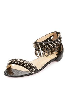 Gypsoflat+Ring+&+Stud+Flat+Red+Sole+Sandal,+Black+by+Christian+Louboutin+at+Neiman+Marcus.