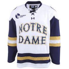 08609f8ef Mens Notre Dame Fighting Irish Under Armour White Replica Hockey  Performance Jersey College Football