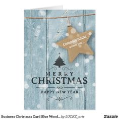 Business Christmas Card Blue Wood Star Label