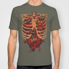Anatomical Study - Day of the Dead Style by Steve Simpson $22    T-SHIRT / MENS FITTED TEE LIEUTENANT  $22.00