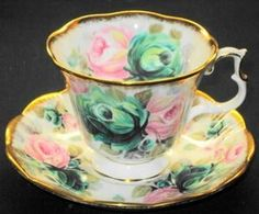 Royal Albert, England  -  Tea cup and saucer -  Summer Bounty Series - Jade.
