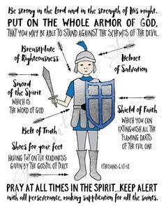Armor of God. Bible Study For Kids, Bible Lessons For Kids, Bible Stories For Kids, Armor Of God Lesson, Belt Of Truth, Teen Art, Ephesians 6, God Prayer, Prayer Book