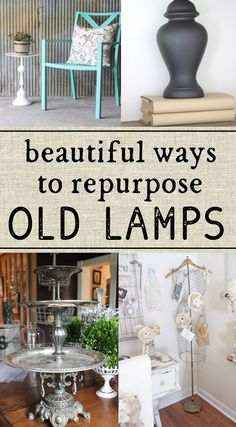 Repurpose Old Lamps - a few bright upcycle ideas Some wonderful ideas on how to repurpose old lamps. Repurpose Old Lamps - a few bright upcycle ideas Some wonderful ideas on how to repurpose old lamps. Diy Upcycled Art, Repurposed Items, Repurposed Furniture, Dresser Repurposed, Refinished Furniture, Diy Furniture Repurpose, Diy Furniture Cheap, Cute Furniture, Diy Furniture Hacks