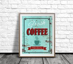 Printable Wall Art Fresh Coffee Sign Vintage by pickApixelArt