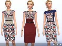 Stained glass print dress by EsyraM at TSR via Sims 4 Updates