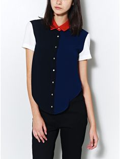 Don't like these colours, but great way of colour blocking a shirt