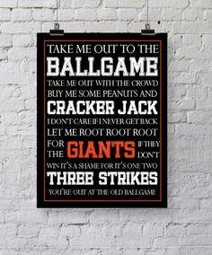 San Francisco Giants Baseball Subway Art - Take Me Out to the Ballgame - 8x10 - Digital Printable JPEG. $5.95, via Etsy.