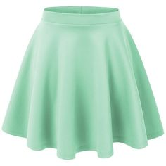 Lock and Love Womens Basic Versatile Stretchy Flared Skater Skirt ($11) ❤ liked on Polyvore featuring skirts, bottoms, saias, faldas, green skirt, flare skirt, circle skirt, skater skirt and flared hem skirt