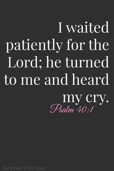 Psalm 40:1  I waited expectantly[a] for the Lord,     and he took notice of me         and heard my cry.