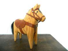July sale 20Hand carved Dala Horse Natural wood by TasteVintage, $20.00