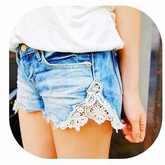 DIY lace shorts. Cute.