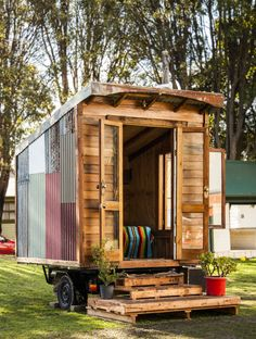 Tiny House Prototype by The Upcyclist and The Bower - Image by Alicia Fox Photography #upcycling #tinyhouse www.recycledinteriors.org