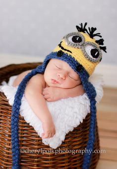 Newborn Minion Hat by MadhatterknitsCo on Etsy