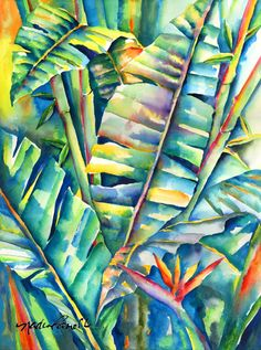 Tropical Daystar watercolor painting, watercolor painting artist, abstract…