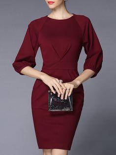 Shop Midi Dresses - Wine Red Plain Spandex Balloon Sleeve Sheath Midi Dress online. Discover unique designers fashion at StyleWe.com.