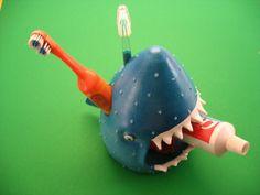 Toothbrush Holder Shark Toothbrush Holder by PondScumCeramics