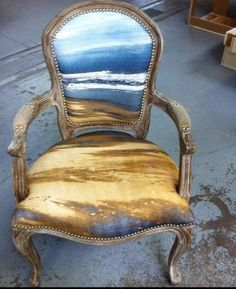 get a favourite picture printed on fabric and then cover a chair.....update each decade or when it's worn way past 'shabby chic'....