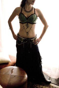Tribal mermaid - Bra and Belt set - Tribal Fusion Bellydance costume. $330.00, via Etsy.