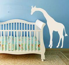 Peeking Giraffe-vinyl decal, giraffe, safari, jungle, zoo, nursery, silhouette