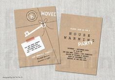 We've Moved Kraft Paper Package Housewarming Party Invitation | Custom Modern Key Stamped New Home Moving Announcement PRINTED / PRINTABLE